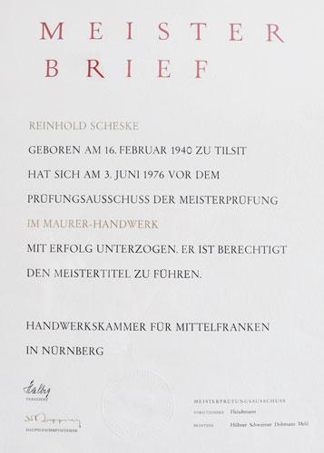 Meisterbrief Scheske sen.